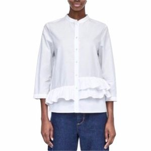 ZARA Button Front Blouse Priests Collar White S